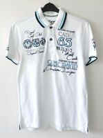 CAMP DAVID Polo Shirt Men's Medium 100% Cotton White Casual Short Sleeved M Top