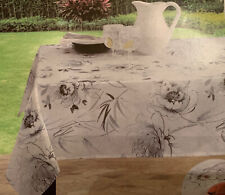 """Calliope Indoor Outdoor Table Cloth White Gray Floral 52"""" X 70"""" New"""