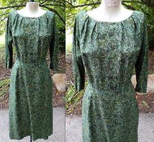 Vintage 1950s 50s TWEEN CRAFT Wiggle Pencil Dress Green Floral Rose