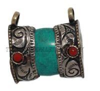 Turquoise Pendant Boho Pendant Silver pendant Tibetan Pendant Nepalese Pendant