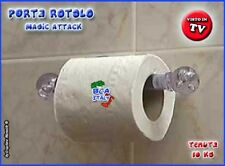PORTA CARTA IGIENICA Magic Attack ACCESSORI BAGNO Ventosa Forte Tenuta Visto Tv