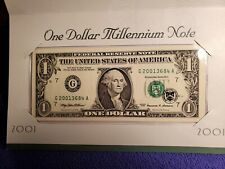 UNCIRCULATED 2001 USA $1 ONE DOLLAR FEDERAL RESERVE MILLENNIUM NOTE 20013684 BEP