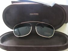 Tom Ford shiny gold Clip-on Metal Sunglasses 52mm