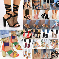 Women Block High Heel Ankle Strap Sandal Hollow Out Peep Toe Boots Shoes Summer