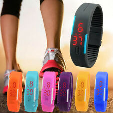 Fashion UNISEX Rubber Red LED Watch Sport Bracelet Bangle Digital Wristwatch HOO