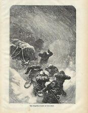Stampa antica POLO NORD esploratori nella tempesta 1877 Old Antique print