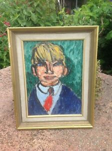 A Vintage Mid 20th Century Oil Painting on board,  Portrait of a Boy in red tie.