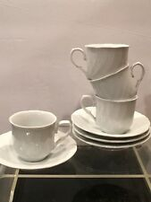 Tognana White Porcelain Espresso Cups and Saucers Set Of 4