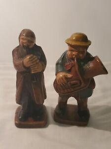 "2 Vintage Syroco Hillbilly Band Wood Figurine ? 1940s 5"""
