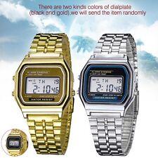 Retro Mujeres Hombres acero inoxidable LED Digital reloj alarma cronometro OP