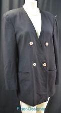 Jones New York Womens Blazer Double breasted suit Jacket light coat Black 16 VTG