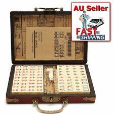 Chinese Mahjong Portable Retro Box Rare 144 Tiles Mah-Jong Set In Leather Box AU