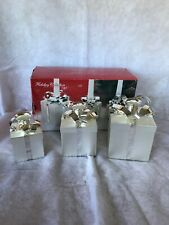 Godinger Silver Plated Set 3 Present Gift Boxes Christmas Holiday Candle Holders