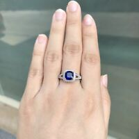 3ct Cushion Blue Sapphire White Topaz 925 Sterling Silver Statement Ring Size 7