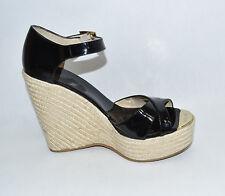 New Jimmy Choo 'Pallis' Wedge Sandal Black Patent Leather Platform Espradille 9