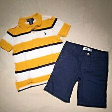 LOT POLO RALPH LAUREN shirt 3T OLD NAVY blue Chino Flat-Front Uniform shorts 4T