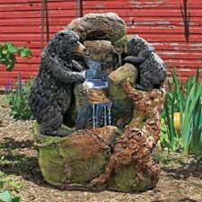 Rustic Woodland Black Bear Water Fountain Sculpture Statue Grizzly bear and cu 00004000 b