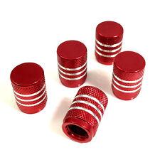 5 Red Aluminum Chrome Stripes Tire/Wheel Stem Valve Caps for car-truck-hot rod