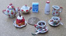 1:12 Scale 14 Piece Ceramic Heart Motif Coffee Set Tumdee Dolls House Accessory