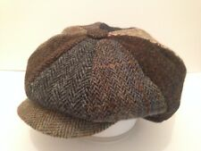 MENS TRADITIONAL HARRIS TWEED PATCH CAP NEWSBOY BAKER BOY PEAKY BLINDER CABBY