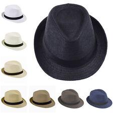 Men Women Boys Girls Kids Children Fedora Cap Trilby Hats Sunhat Straw  Sunbonnet b8c33d150e6
