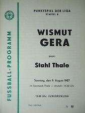 Program 1987/88 Bsg Steel Thale - Bismuth Gera