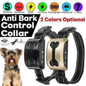 Waterproof Smart Anti Bark Dog Collar Stop Barking Sound&Vibration Rechargeable