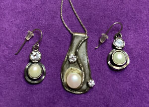 Beautiful ISRAEL Didae Pearl Sterling Silver 925 Necklace & Earring Set Italy