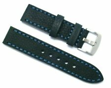 22mm Black HQ Oily Cowhide Leather Replacement Watch Band - Glycine 22 Lug