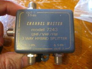 NEW Channel Master UHF VHF FM TV / 3-Way Hybrid Splitter / 6.5 db / Model- 7243
