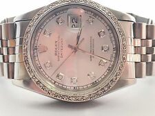Rolex mens White diamond Dial & Diamond  Bezel 36mm Date just automatic watch