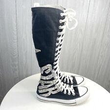 Converse All Star Knee High Boots Sneakers Women's Size  6 Black Silver Glitter