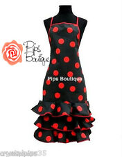 New Spanish Flamenco Cooking Apron Red Black Polka Dot Fun Party Theme Night