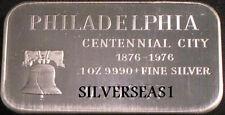 1972 PHILADELPHIA SMALL BELL CENTENNIAL CITY 1876-1976 MADISON MINT SILVER BAR