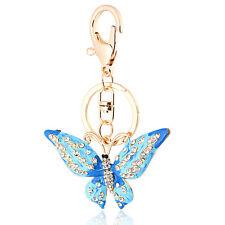 Ciondolo Per Fibbia Borsa Accessori Brillante Farfalla Blu Portachiavi HK34