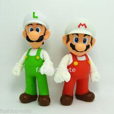 2 pcs Super Mario Brothers White Luigi Action Figures figurines 5 inch Nintendo