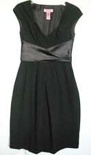 ELIZA J Womens Black Empire Pleated Satin Belt Cocktail Gown / Formal Dress 4 S