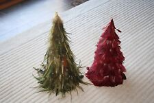 """Lot of 2 Green and Red Cone Feather Christmas Trees 10"""" and 11"""" Tall"""