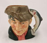 """Royal Doulton The Poacher Toby Character Jug 4"""" COPR 1954 Trout Handle D6464"""