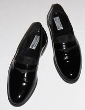 Stanley Blacker Couture 11 M Black Patent ALL Leather Tuxedo Loafer Grosgrain