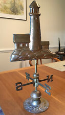 Vintage Handcrafted 3-Dimensional Lighthouse Weathervane Brass, Beautiful