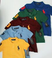 NWT Ralph Lauren Boys S/S Classic Big Pony Solid Mesh Polo Shirt Sz 5 6 7 NEW