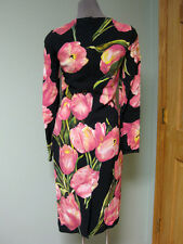 $2275 Dolce & Gabbana AUTH NWT Pink Tulip Blooms Cady Sheath Black Dress 46