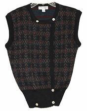 Tricots St Raphael Charcoal Red & Purple 100% Wool Womens Sweater Vest Size M