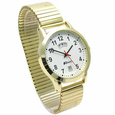 Ravel Mens Day Date Watch Gold Tone Expander Stretch Metal Strap