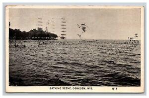 Vintage Postcard Wisconsin, Bathing Scene, Oshkosk WI