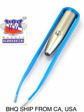 Stainless Steel Make Up LED Light Eyelash Eyebrow Hair Removal Tweezers - Blue