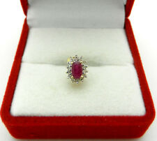 -ONE- Estate 14k Yellow Gold Ruby with Diamond Accent Single Stud Earring