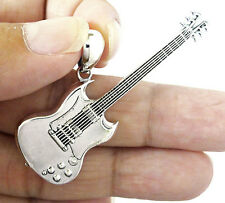 LEGENDARY ELECTRIC GUITAR ROCK STAR MINIATURE STERLING 925 SILVER MENS PENDANT