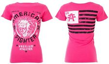 AMERICAN FIGHTER Womens T-Shirt COLUMBIA Athletic HOT PINK Biker USA FLAG $40